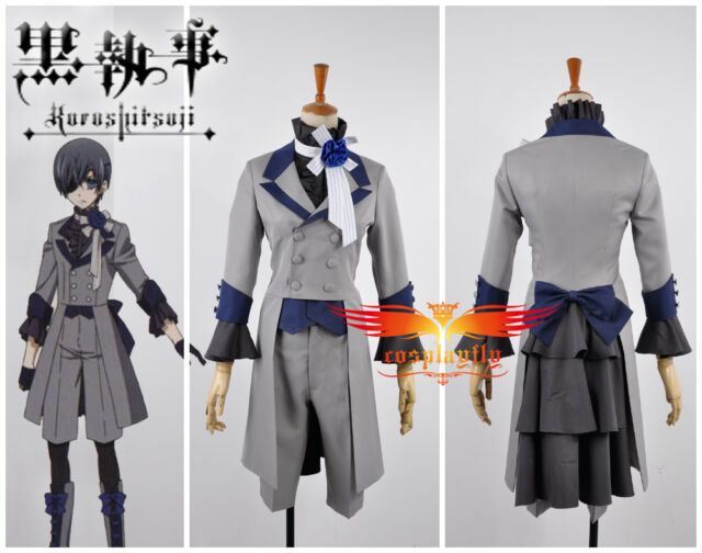 Black Butler 3 Ciel Phantomhive Grey Suit Cosplay Costume Custom With Gloves