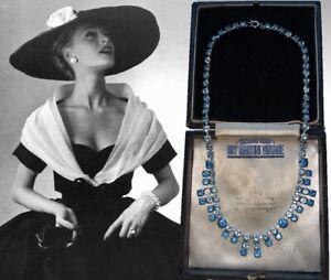VINTAGE-1950s-SAPPHIRE-BLUE-RHINESTONE-CRYSTAL-FRINGE-NECKLACE-BRIDAL-PARTY-GIFT