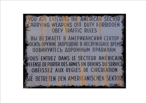 Checkpoint Charlie Reproduction Vintage Sign Allied Checkpoint Border Sign WW2