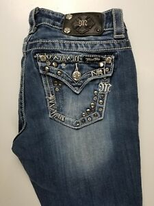 Miss-Me-Easy-Boot-Studded-Womens-Jeans-Sz-27