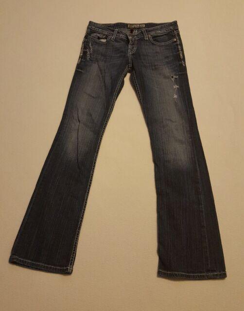 BKE Denim Women's Sabrina Stretch Bootcut Destroyed Jeans Size 27x33
