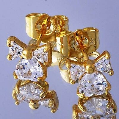 Lovely 18K Yellow Gold Filled crystal Crystal Womens Bow-Knot Stud Earrings