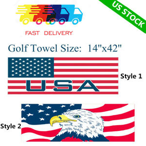 Waffle-MicroFiber-Golf-Club-Towel-14-034-x-42-034-Jacquard-With-Hook-US-Stock-Callaway