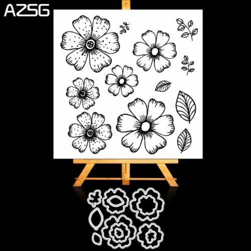 Flowers and Leaves Petals Metal Cutting Dies and Clear Stamp Set for DIY