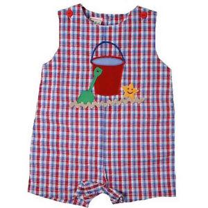 Cute-Petit-Ami-Red-Blue-Plaid-Baby-Boy-Shortall-Romper-w-Sand-Pail-Cotton-Blend