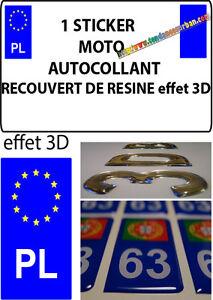 1 sticker plaque immatriculation moto doming 3d resine grece pologne pl ebay. Black Bedroom Furniture Sets. Home Design Ideas