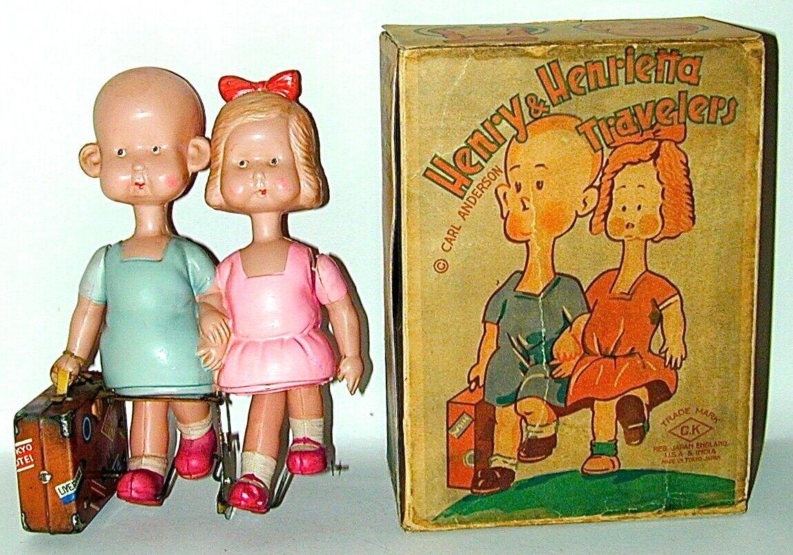 Henry & Henrietta Henrietta Henrietta viajeros Celuloide Cuerda Toy En Caja Original Japón Circa 1934  ahorrar en el despacho