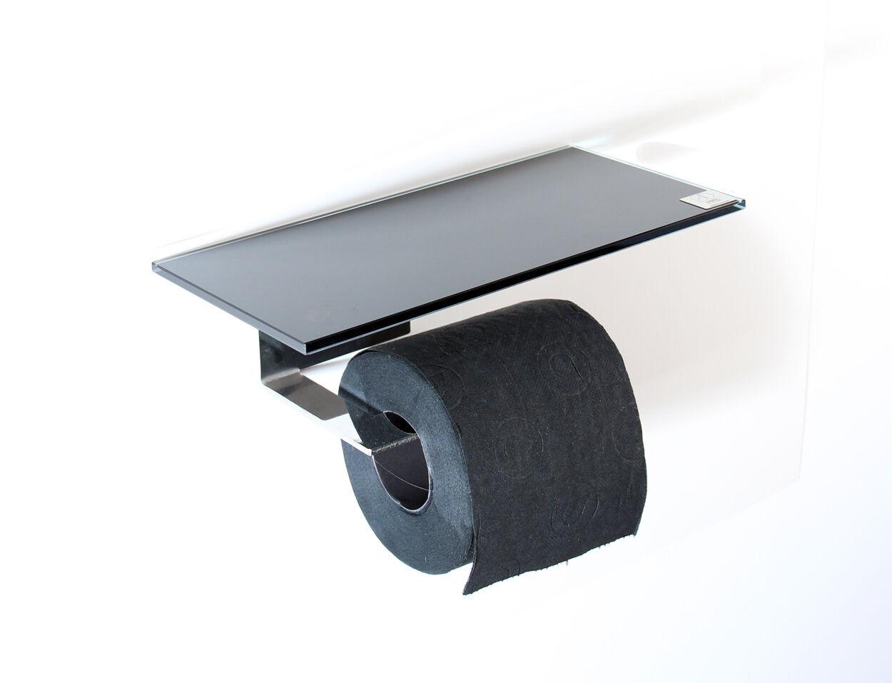 Toilettenpapierhalter aus Edelstahl mit Abstellfläche aus Glas schwarz  (2)