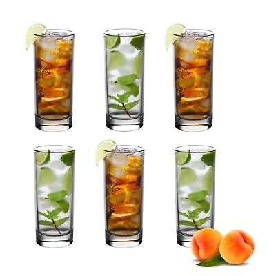 Vinsani 6 Pack Traditional Hiball Glasses Mixer Juice Beers Cold Drinks 300ml