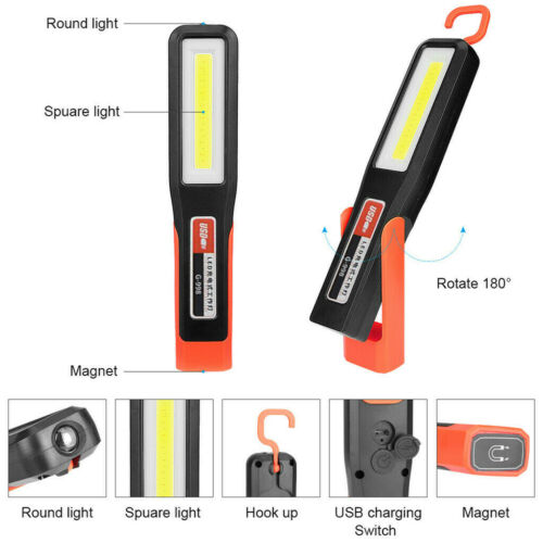 Rechargeable Inspection Lamp COB LED Magnetic Work Light Flexible Cordless Torch