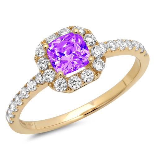 1.40ct Princess Cut Natural Amethyst Promise Bridal Wedding Ring 14k Yellow Gold