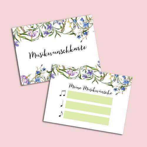 """50 Musikwunschkarten /""""Blaue Hochzeit/"""" für Hochzeiten und Geburtstage"""