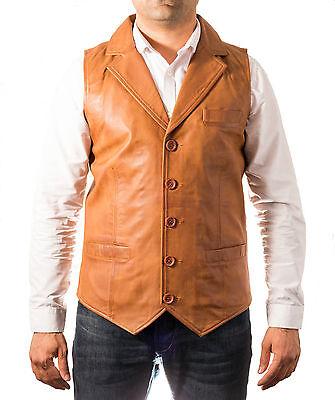 Men/'s classic smart tan 100/% cuir gilet