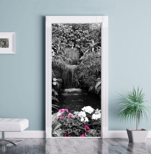 weite Blumenoase schwarz//weiß Türaufkleber 200x90cm Türtapete Türsticker