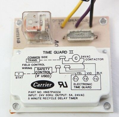 "CARRIER HN67PA024  DELAY TIME GUARD TIMER 24V 60HZ 5 MINUTE DELAY /""USED/"""