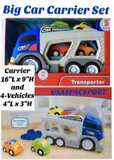 5pc Kids BIG Mack Truck CAR CARRIER TRANSPORTER SET Sounds Preschool Toddler Lot