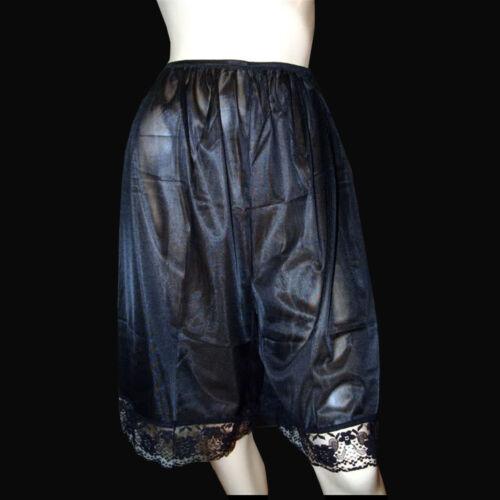 VTG Style Semi Sheer Nylon Half Slips Pettipants Lace Hem Pants Bloomer Black