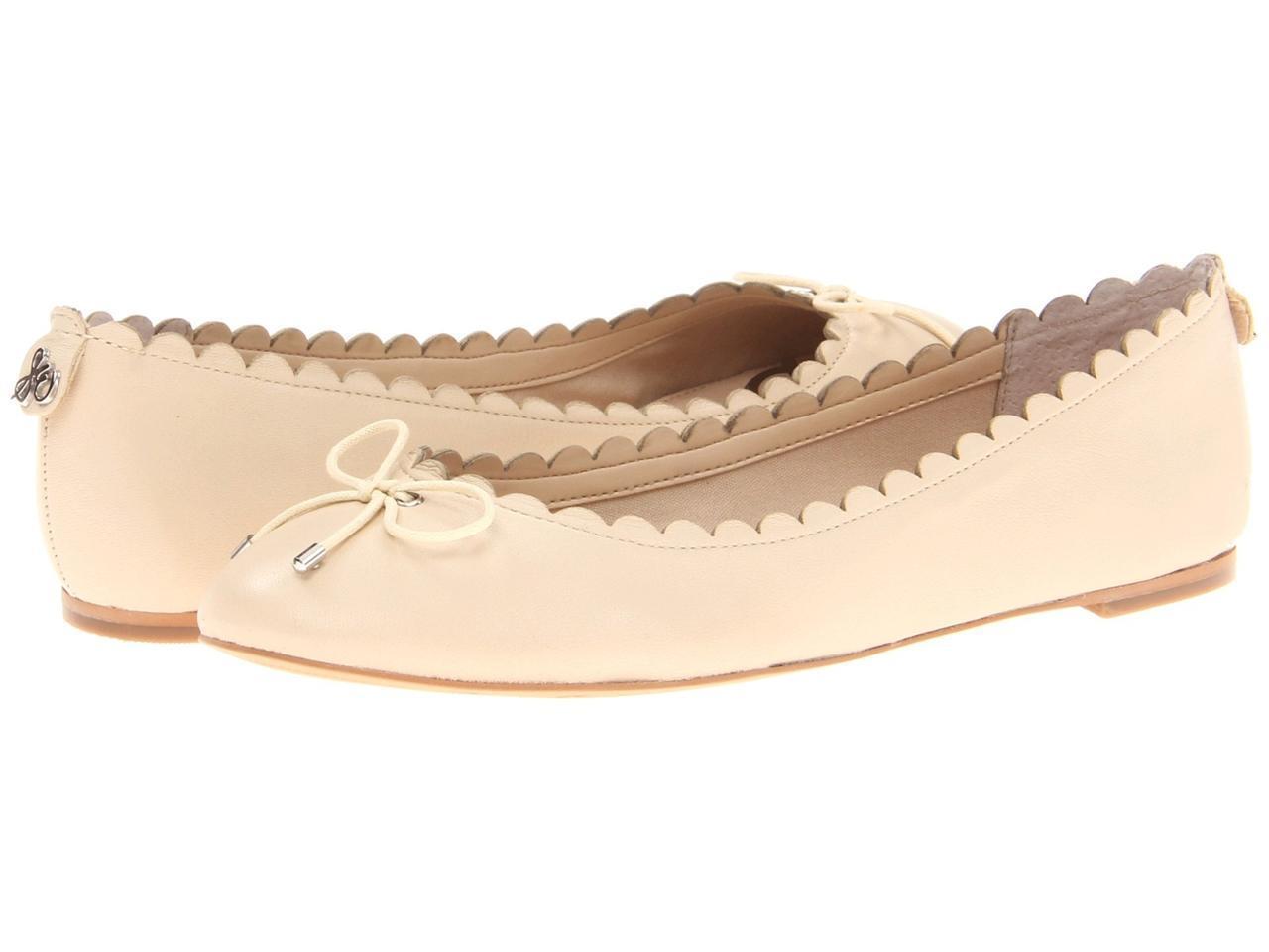 economico Sam Edelman Maria Flat Ivory Easy Easy Easy slip-on wear leather  scalloped trim bow tie  outlet