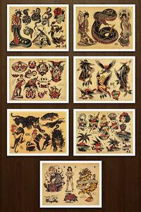 701dc3f69 8.5x11 Sailor Jerry Classic Set 2 Vintage Tattoo Flash Design Sheets ...