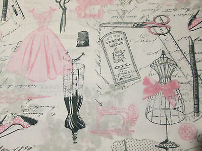 VINTAGE PARIS SEWING MANNEQUIN SEWING ITEMS COTTON FABRIC BTHY