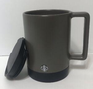 STARBUCKS-Commuter-Travel-Mug-Cup-Gray-Ceramic-Non-skid-Base-14-oz-short-lid-5-034