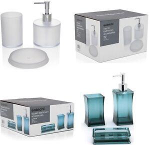 3pc Sabichi Plastic Bathroom Bath Accessories Set Soap