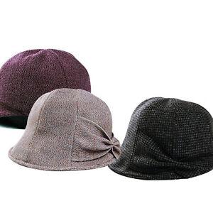 Cotton Wool Blend Cloche Tulip Ribbon Hat Band Type Womens Bucket ... 9866e70c951