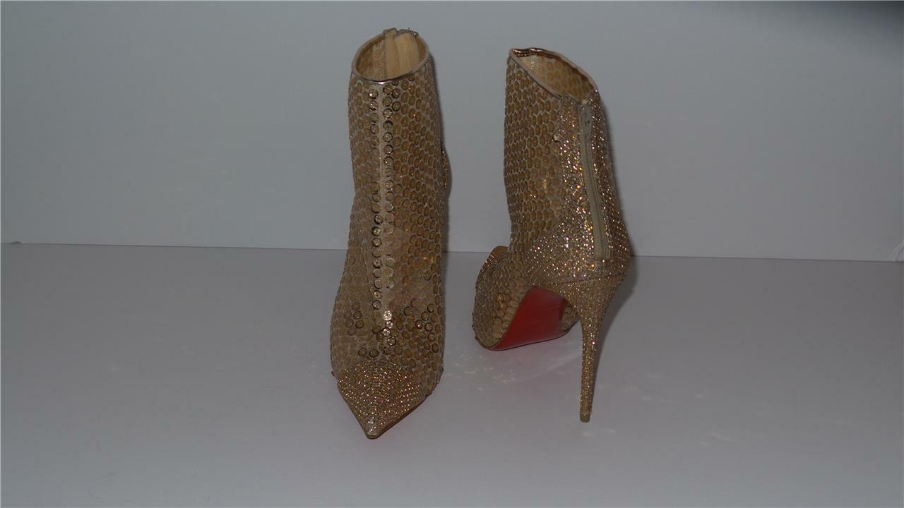995 CHRISTIAN LOUBOUTIN GIPSYBOOTIE GIPSYBOOTIE GIPSYBOOTIE SPC 100 VERSION NUDE gold BOOTIE SIZE 38 0d1f98