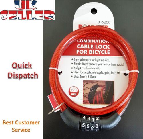Combinaison Numéro Code Vélo Cycle Lock 8 mm par 650 mm câble en acier chaîne.