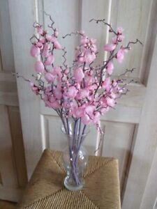 Vintage-Millinery-Flower-Collection-Pink-Cherry-Blossom-5pc-on-Long-Stem-Y181A