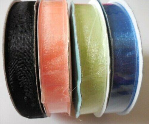20 Metre Full Reel Wedding Ribbon,Craft 15mm Sheer Organza//Chiffon Ribbon