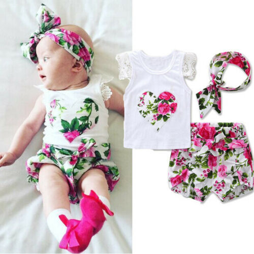 Cn /_ Eg /_ 3pcs Bebé Niña Manga Corta Floral Camiseta Falda Banda para Cabeza