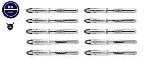 Uni-ball Vision Elite UB-200 0.8mm Tip Rollerball BLACK Pen Pack Of 10