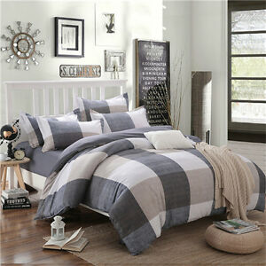 Grey-Checked-Home-Single-Queen-King-Bed-Linen-Pillowcase-Quilt-Duvet-Cover-OUKr