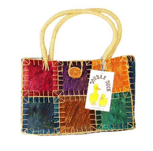 Bolsa De Playa Compra bag//basket hecha de teñido tree-bark Morado Verde Amarillo Nuevo
