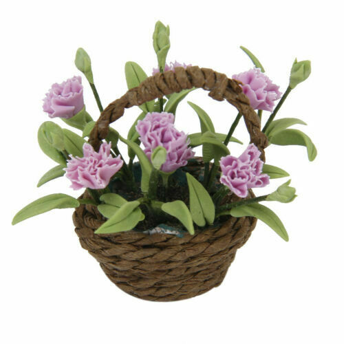 Miniature Purple Carnation Flower Potted Plant for 1//12 Dollhouse Ornament