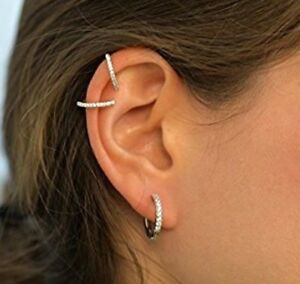 Silver Small Hoop Earrings Micro Pave