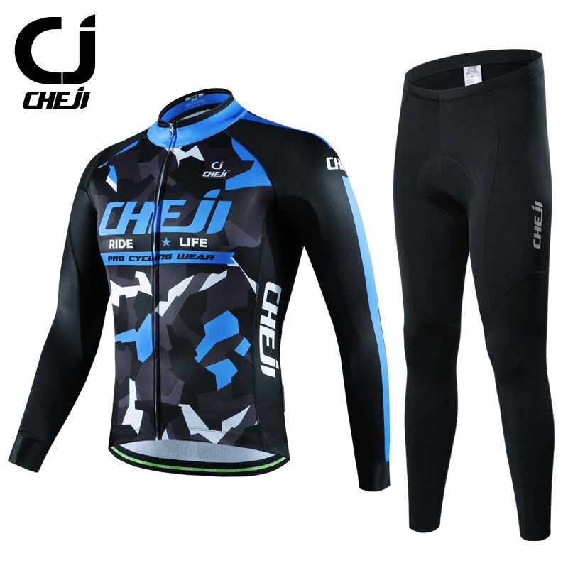 CHEJI Mens Bicycle Winter  Clothing Thermal Fleece Cycling Jersey Pants bluee Camo  limit buy