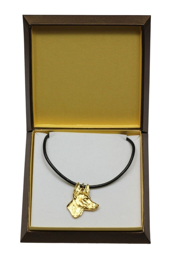 Pharaoh Hound - gold covered necklace with dog in box, high quality Art Dog