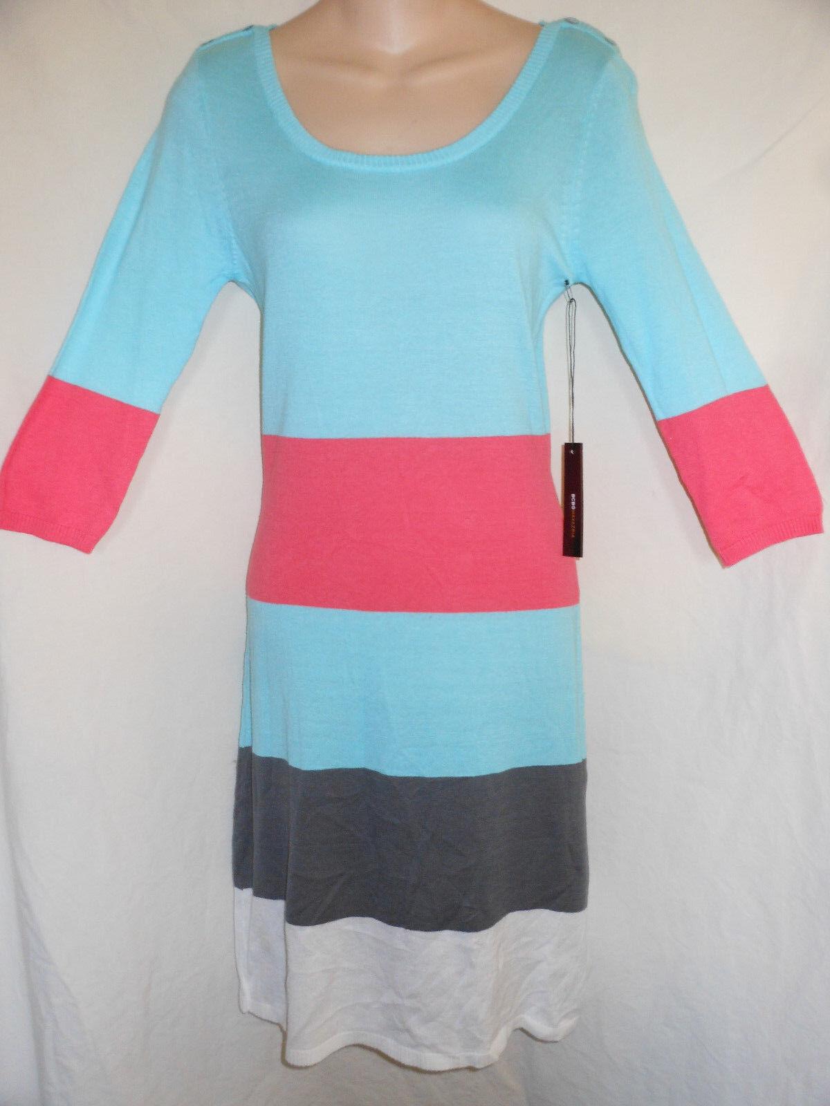 BCBG Maxazria S NWT 160  Crystal bluee Combo Striped Knit Sweater Dress BC32565D