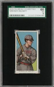 Rare-1909-11-T206-Rudy-Hulswitt-Piedmont-350-St-Louis-SGC-60-5-EX