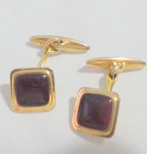 Vintage Wedding Business Krementz MJM Quality Plated Ovals w Topaz Lucite Bullet Fasteners Gold Monogram Cufflinks