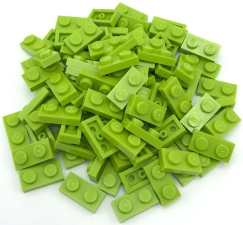 Lego 100 New Lime Green Plates 1 x 2 Dot Pieces
