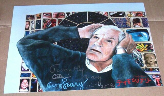 SIGNED  TIMOTHY LEARY & ARTIST CAROLYN FERRIS PORTRAIT PSYCHEDELIC TIMOTHY LEARY