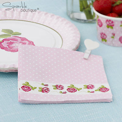 VINTAGE ROSE PAPER NAPKINS -Shabby Chic- Afternoon Tea/Party/Pink-RANGE IN SHOP!