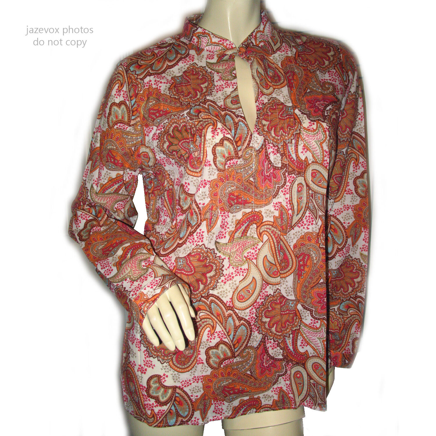 CHARTER CLUB damen Long Sleeve Top Blouse 10 MultiFarbe Orange Paisley Pattern