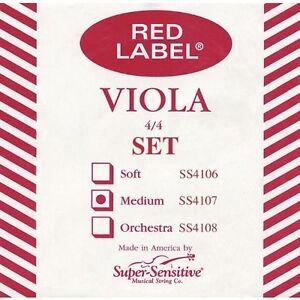 """Étiquette Rouge Standard 15-16 1/2"""" Viola String Set 4/4 Sz-afficher Le Titre D'origine"""