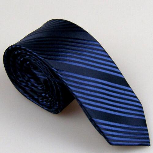 Lammulin Hommes Liens Bleu Avec Bleu Marine oblique à Rayures Cravate Microfibre Skinny Cravate