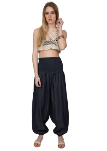 2 in 1 Harem Trouser Jumpsuit in Denim
