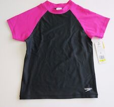 NWT Speedo Brand Girl's M Black Pink UV Swim Shirt Rash Guard Coverup